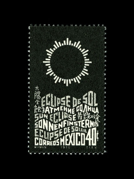 mexico eclipse 1970s stamp