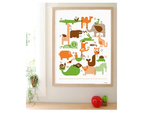petit collage animal alphabet print
