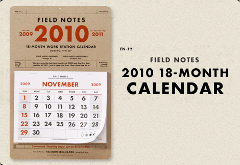 field notes brand, ddc, coudal calendar